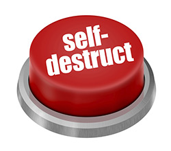 a small red self-destroy button